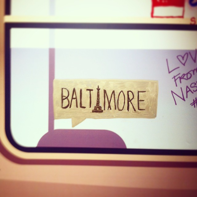 Representing #baltimore at the #shutterstock HQ at type #EmpireState building as part of #CMsummit14 #cmbal. I hand lettered a little graffiti tag with the Washington Monument on an image of a subway train. Don't worry, I was told to do so. I didn't deface any real property. :),