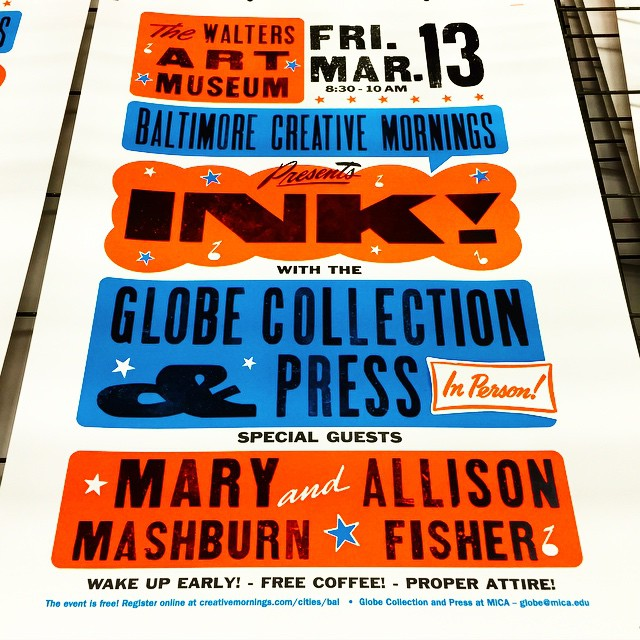 And this, my friends, is why #dayglo #ink is so awesome. It makes what otherwise is normal old type punch you in the face so hard that it makes you say yes please and may I have another!  @baltimore_cm #cmbal @creativemorning  #CreativeMornings @globeatmica