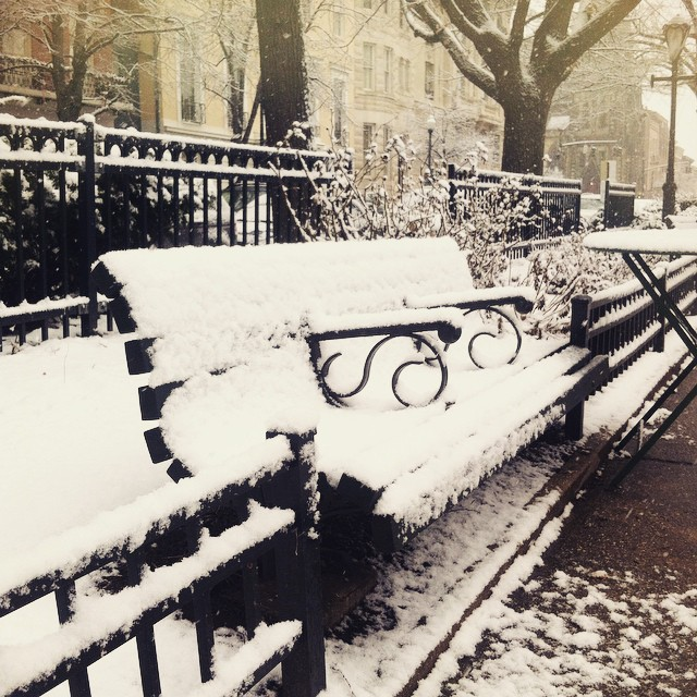 There is something extremely peaceful about a snow covered park bench. #letitsnow